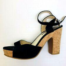 Groove Ankle Strap Shoe,Block Heel,Cork Bottom,9M,Suede Leather,Black,Open Toe