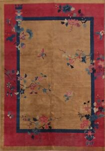 Antique Art Deco Nichols Chinese Area Rug Hand-knotted Living Room 7'x10' Carpet
