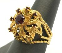 Estate Vintage 14K Yellow Gold Red Garnet Flower Cocktail Statement Ring Size 9