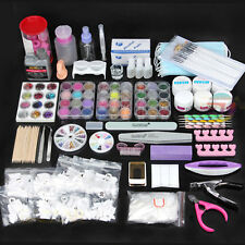 48PC Nail Art Care Set Acrylic Powder UV Gel Manicure DIY Tips Polish Brush Kit