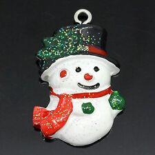 2 X PUPAZZO DI NEVE resina ciondolo charms Natale Christmas