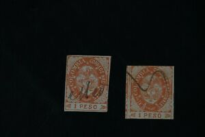 Colombia #42 + #42b  two 1865 F/VF use stamps 2017 cv$38.00 (v166)