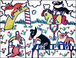 SHELTIE Playground ACEO PRINT Mini Folk Pop Art Card 2.5 X 3.5 KSAMS Collectible