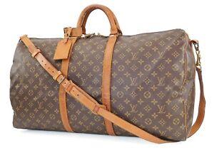 Auth LOUIS VUITTON Keepall Bandouliere 60 Monogram Canvas Duffel Bag #40270