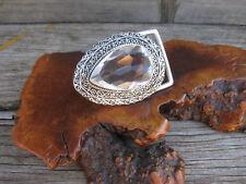 Smokey Topaz Vtg Stlye Gemstone 925 Silver Designer Belt Buckle Pear Setting