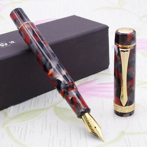 LIY Red Black Resin Fountain Pen Schmidt F Nib Gold Trim Executive Gift Pen