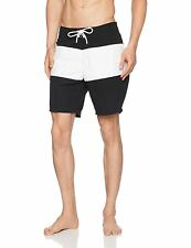New Look Men's Block Board Shorts, Black and White, Small