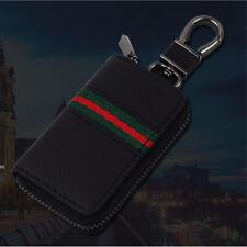 Black Leather Car Smart Key Case Remote Bag Unisex Key Chain Holder Zipper Pouch