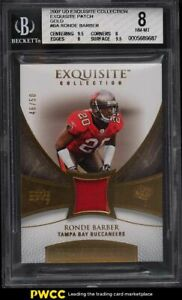 2007 Exquisite Collection Gold Ronde Barber PATCH /50 #BA BGS 8 NM-MT