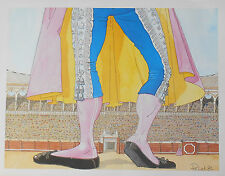 Affiche CORRIDA En attendant le Toro dans l'Arènes Humoristique Signé PELET 89