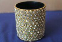 Vintage gold colour with diamante design circular pot