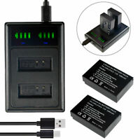 2 LP-E12 Battery+LED Charger w/ cable For Canon EOS M M2 100D Kiss X7 Rebel SL1