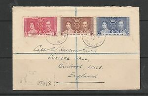 Br Virgins 1937 Coronation on cover, not first day, registered