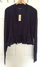 American Eagle Outfitters Long-sleeved Ruffled Open Front Shrug, Navy Blue, XXL
