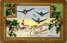 Old Christmas Postcard Birds Holly Bells A Merry Christmas 1910s Embossed Gold