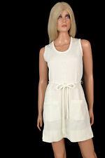 Vintage 70s 80s MINI SHIFT DRESS Retro White Sleeveless Ribbed Knit w Rope Belt