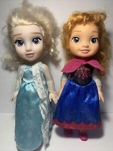 "DISNEY Jakks Pacific FROZEN Princess ELSA & ANNA 14"" Toddler Doll Set"