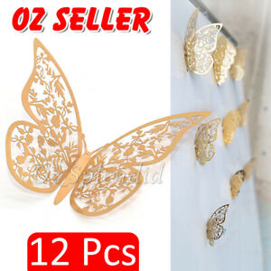 12x 3D  Butterfly Wall Decals Stickers Removable Kids Nursery Decoration NEW AU