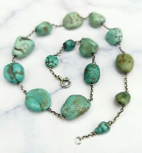 Antique Edwardian Arts And Crafts Turquoise and Silver Necklace