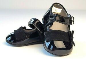 Baby Girls Black Patent Mary Jane Dress Shoes Size 2