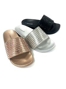 women sandals flat slides flip flop bling silver rose gold black gold size 11