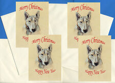 BULL TERRIER HEAD PACK OF 4 CARDS DOG PRINT GREETING CHRISTMAS CARDS