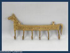 PORTE-CLEFS, ou accroche-torchons,  laiton, 6 crochets, cheval, Inde