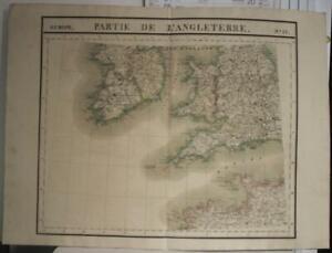 SOUTHWEST ERNENGLAND SOUTHERN IRELAND 1827 VANDERMAELEN ANTIQUE LITHOGRAPHIC MAP
