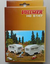 2 Camping Trailers Vollmer Welly 1:87 Ho Scale Diorama Layout