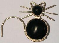 Vintage Sterling Silver & Black Onyx Modernist Cat Brooch Pin