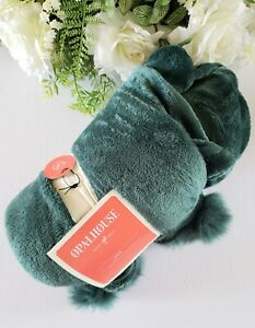"""Opalhouse Solid Plush With Faux Fur Poms Throw Blanket 50x60"""" Green"""
