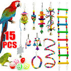 15 Pack Parrot Set Toys Metal Rope Small Ladder Stand Budgie Cockatiel Cage Bird