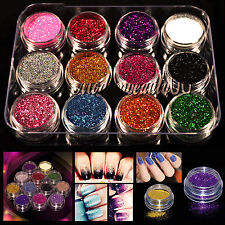 12 Mixed Colors Acrylic Nail Art Tips UV Gel Powder Dust 3D DIY Decoration Tool