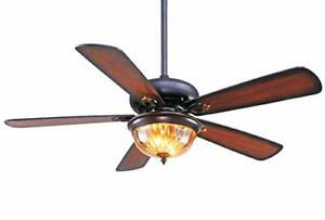 52 Inch Indoor Ceiling Fan With Lights,5 Blades Fan With Glass Ceiling Fan