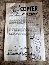 1950s Flex Ware Copter Toy Helicopter BW Molded Plastics Pilots' Owners Manual