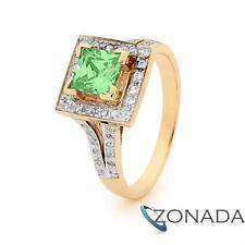 Peridot Coloured Zirconia Dress 6X6 Sqczpt Wedding 9ct 9k Yellow Gold Ring