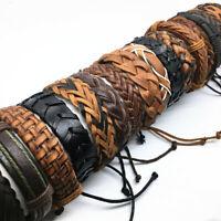 10 X Fashion Handmade Genuine Leather Cuff Bracelets Jewelry Mix Styles