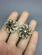 Handmade Ottoman Turkish  925 silver black onyx topaz set Of Earrings.