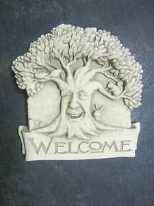 """Carruth Studio """"Woodland Welcome"""" Aged Stone Look - Tree With Bird/Squirrel/Bunn"""