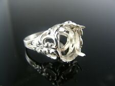 5608 Ring Setting Sterling Silver, Size 7.5, 14x10 Oval Stone