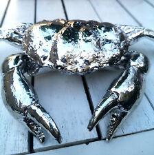 AHOI Taschenkrebs Krebs 24cm Statue Figur Silber Crab Krabbe Maritime Dekoration