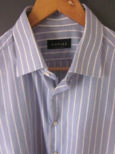 "CANALI SHIRT (17""-REGULAR) COTTON STRIPED D/CUFFS LONG SLEEVE lightly used"