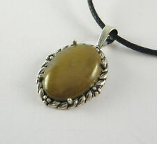 Brown Turquoise Pendant Necklace .925 Sterling Silver USA Made Adjustable Cord