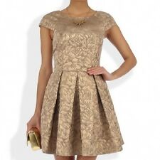 BNWT French Connection Blousy Gold Jacquard Evening Occasion Dress 18 NEW