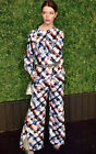 $4,279 NWT CHANEL Red White & Blue Logo Print Silk PANTS 34 36 2 4 6 Wide Leg S