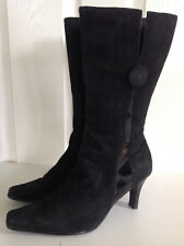 RIVER ISLAND black genuine patent leather heeled knee length boots UK 6 Eur 39