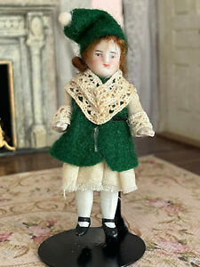 Antique Miniature TINY All Bisque Doll Girl Hand Made Winter Clothes Jointed