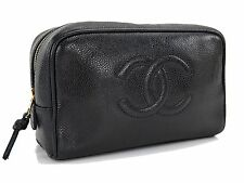 Authentic CHANEL Black Caviar Leather Cosmetics Pouch Bag #24076