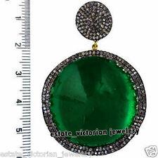 Vintage 3.90cts Pave Rose Cut Diamond Emerald Studded Silver Jewelry Pendant