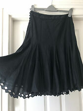 TED BAKER Skirt  2 UK 10 black goth summer floaty wicca victorian lace trim witc